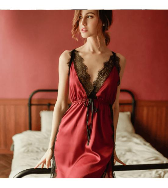 Женский красный пеньюар с кружевом, артикул 13177