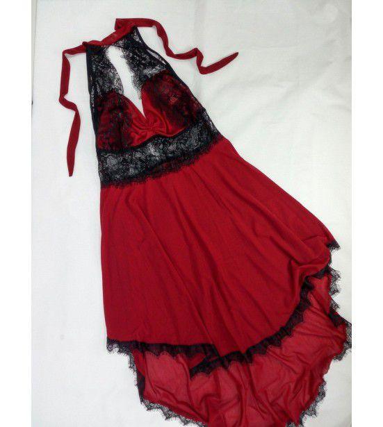 Пеньюар с кружевом красный, артикул 13221