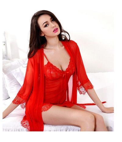 Красный пеньюар с халатом, артикул 13359