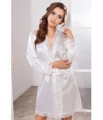 Белый атласный халат с кружевом, артикул 3123