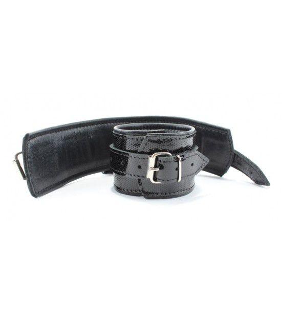 Кожаные лаковые наручники