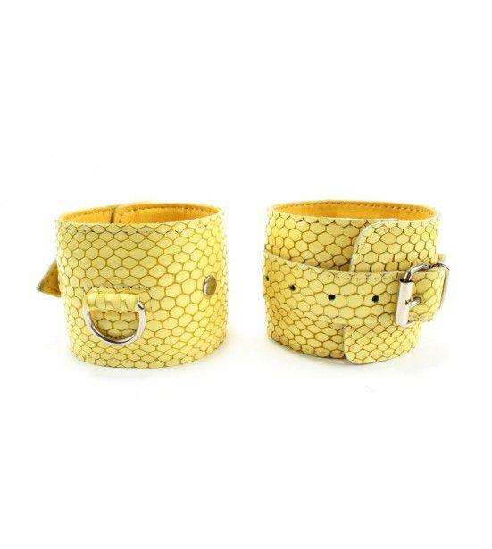Кожаные наручники Желтый питон