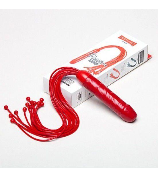 Красная многохвостая плеть с рукоятью-фаллосом - 50 см.