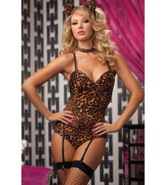Леопардовое боди с хвостиком и ушками