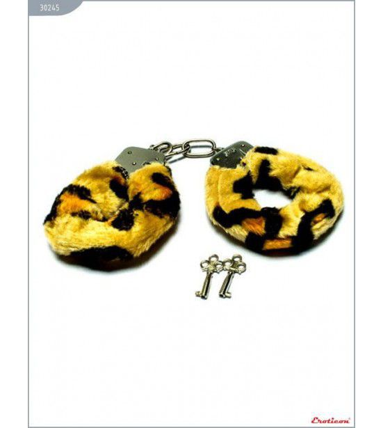 Металлические наручники с мехом тигровой расцветки