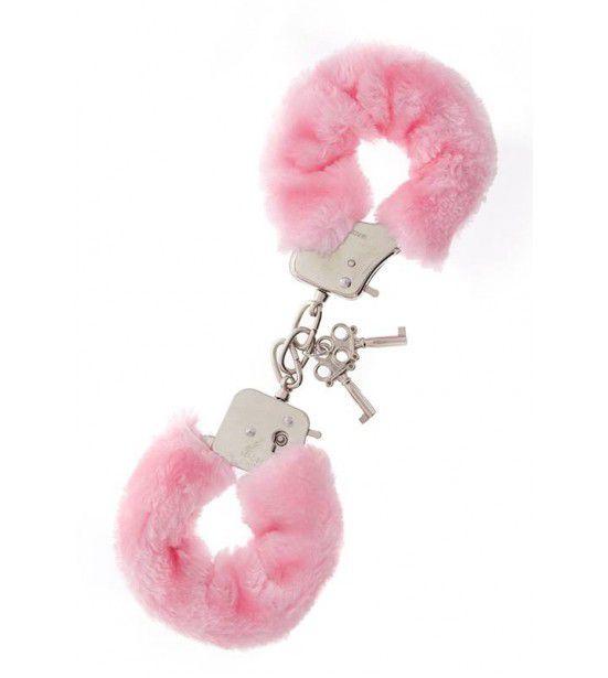 Металлические наручники с розовой меховой опушкой METAL HANDCUFF WITH PLUSH PINK