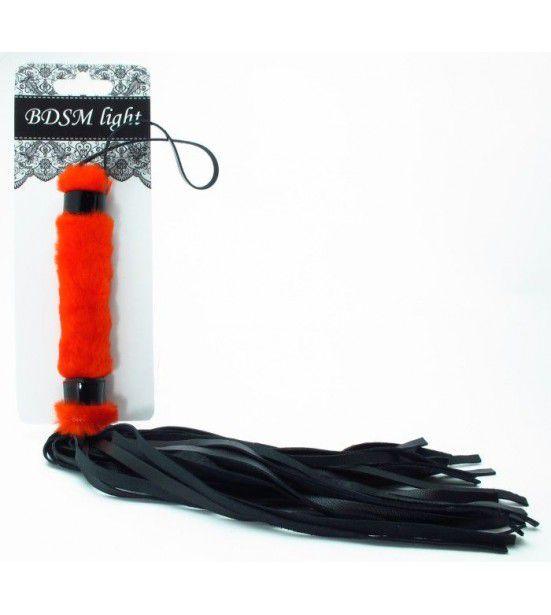 Нежная плеть с красным мехом BDSM Light - 43 см.