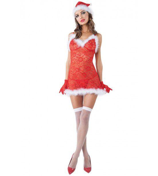Новогодний костюм кокетливой Снегурочки