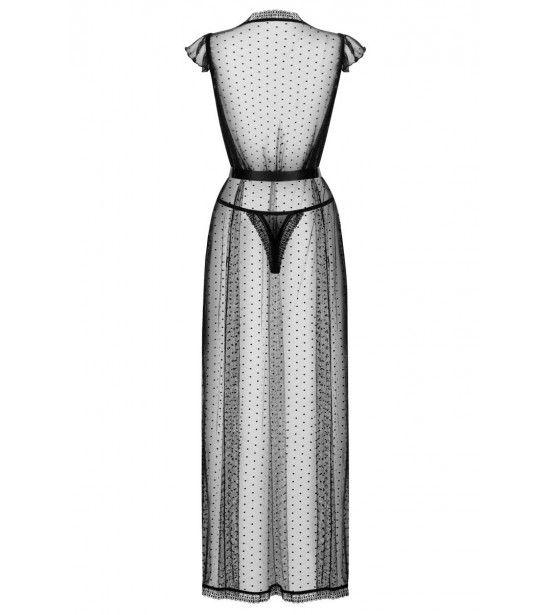 Восхитительный длинный полупрозрачный пеньюар с атласным поясом